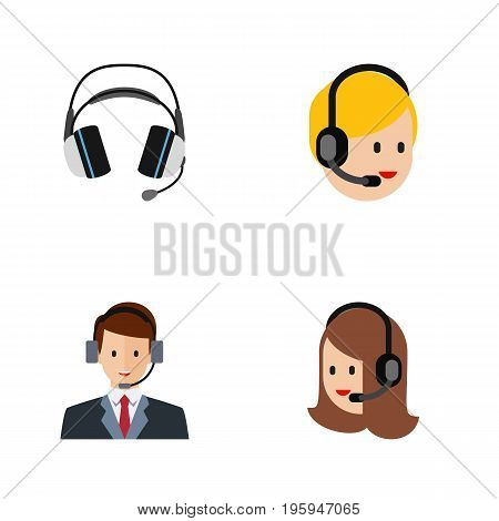Flat Icon Center Set Of Service, Earphone, Hotline And Other Vector Objects