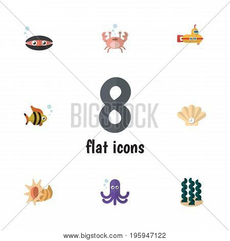 Flat Icon Sea Set Of Scallop, Conch, Cancer And Other Vector Objects