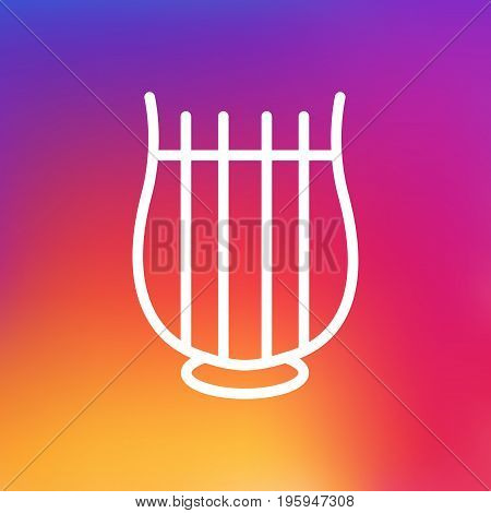 Isolated Harp Outline Symbol On Clean Background