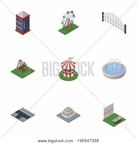 Isometric Urban Set Of Plants, Barricade, Crossroad And Other Vector Objects