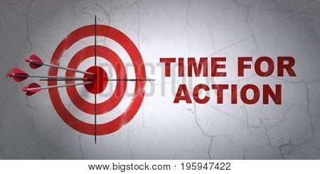 Success timeline concept: arrows hitting the center of target, Red Time For Action on wall background, 3D rendering