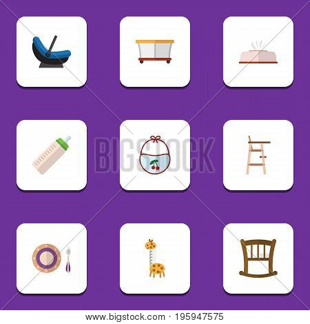 Flat Icon Kid Set Of Feeder, Toy, Infant Cot And Other Vector Objects