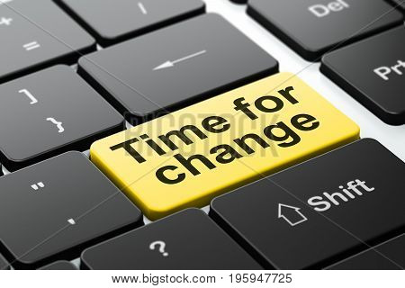Time concept: computer keyboard with word Time For Change, selected focus on enter button background, 3D rendering