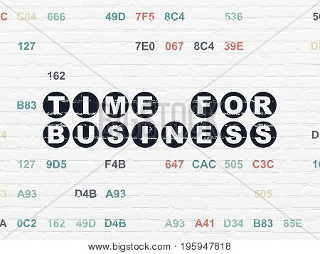 Timeline concept: Painted black text Time for Business on White Brick wall background with Hexadecimal Code