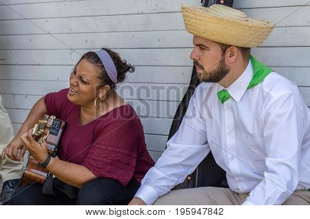 TIMISOARA ROMANIA - JULY 9 2017: Couple of traditional singers from Puerto Rico repeat for the show at the international folk festival