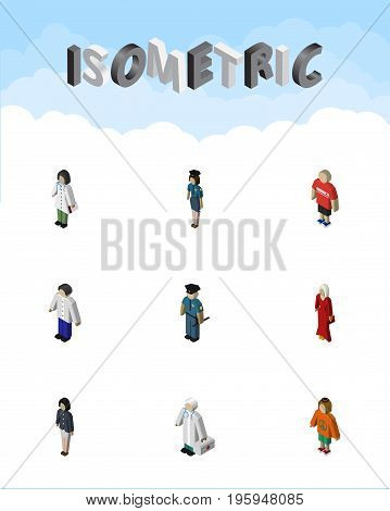 Isometric Human Set Of Female, Girl, Policewoman And Other Vector Objects