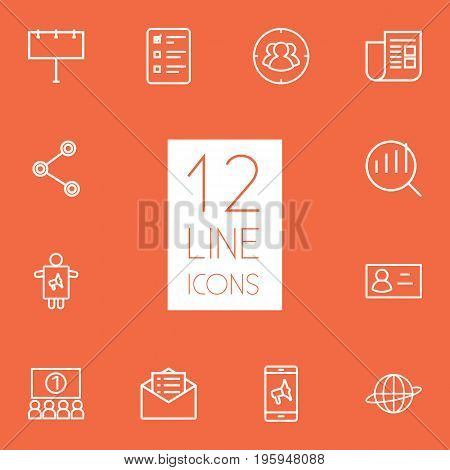 Set Of 12 Advertising Outline Icons Set
