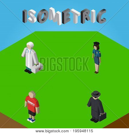 Isometric People Set Of Detective, Policewoman, Guy And Other Vector Objects