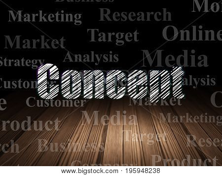 Marketing concept: Glowing text Concept in grunge dark room with Wooden Floor, black background with  Tag Cloud