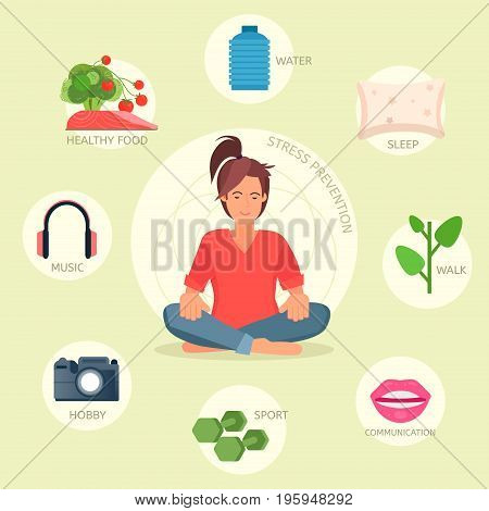 Stress prevention vector infographic. Easy ways to manage stress. Woman doing yoga. Vector concept illustration.