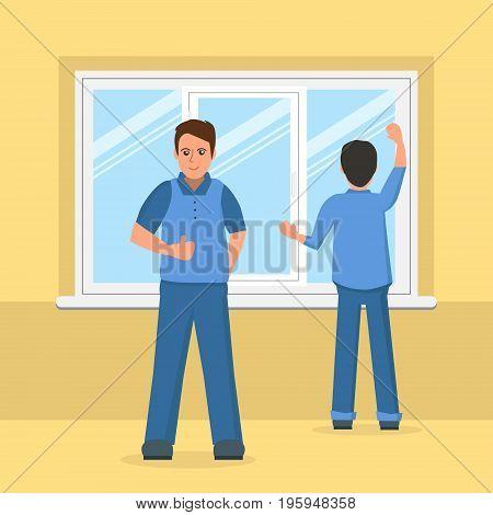 Workers installing plastic window. Plastic windows instalation business concept. Vector illustration with men instaling plastic window.