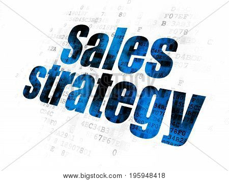 Advertising concept: Pixelated blue text Sales Strategy on Digital background