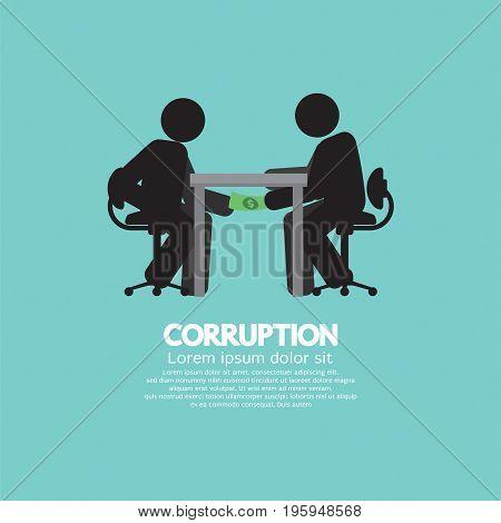 Black Symbol Of Two Men In Corruption Concept Vector Illustration. EPS 10