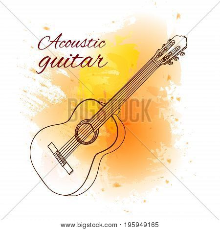 Outline acoustic guitar on yellow paint splash. VECTOR illustration