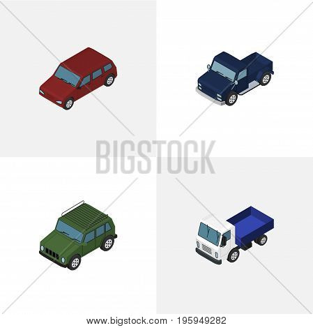 Isometric Automobile Set Of Armored, Lorry, Car And Other Vector Objects