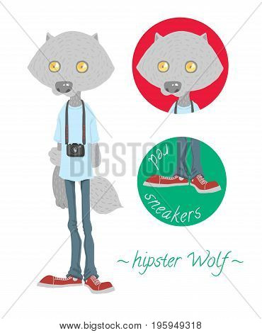 Cute hipster wolf with camera - vector illustraton