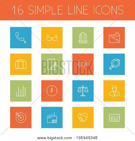 Set Of 16 Trade Outline Icons Set