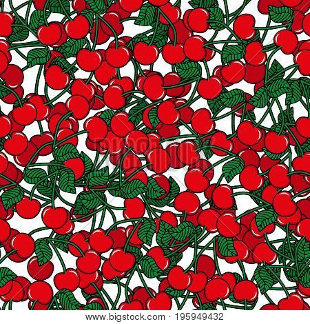 Seamless pattern with cherry white background. Cute vector background. Bright summer fruits illustration. Fruit mix design for fabric and decor.