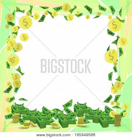 Photo frame money square orientation sheet with coins. Illustration for your design.