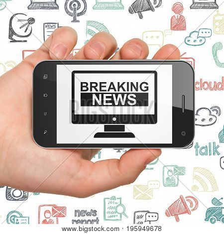 News concept: Hand Holding Smartphone with  black Breaking News On Screen icon on display,  Hand Drawn News Icons background, 3D rendering