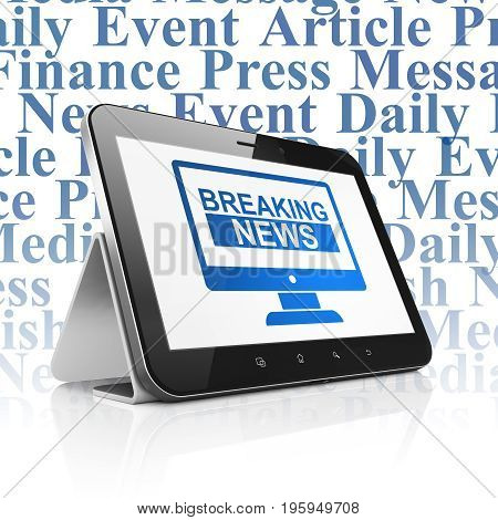 News concept: Tablet Computer with  blue Breaking News On Screen icon on display,  Tag Cloud background, 3D rendering