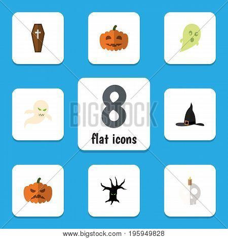 Flat Icon Festival Set Of Phantom, Casket, Ghost And Other Vector Objects