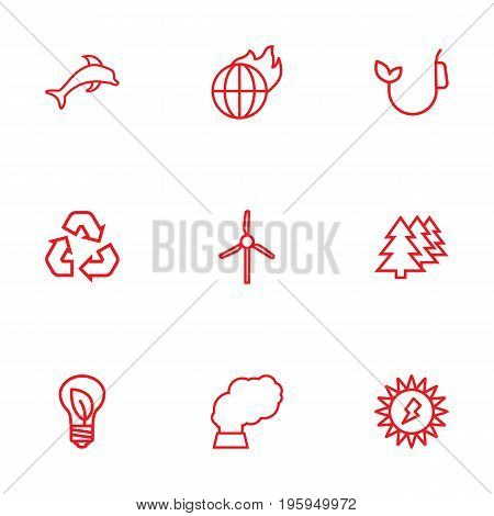 Set Of 9 Atmosphere Outline Icons Set