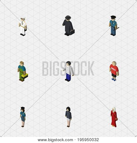 Isometric Human Set Of Male, Female, Seaman And Other Vector Objects