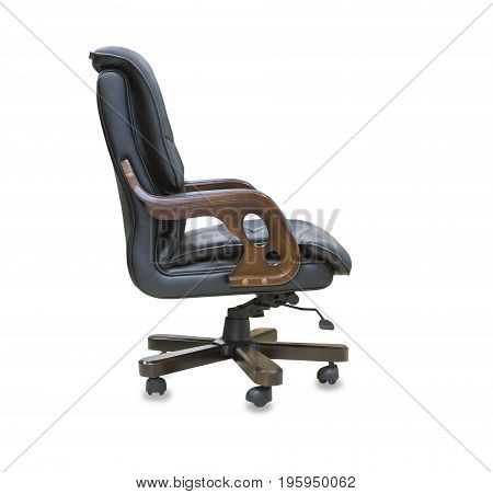 The profile view modern office chair from black leather. Isolated