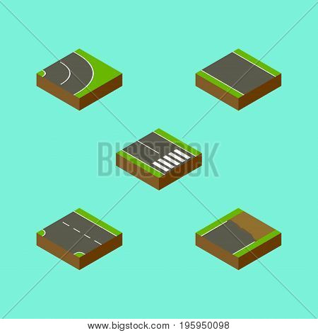 Isometric Way Set Of Without Strip, Unfinished, Downward And Other Vector Objects