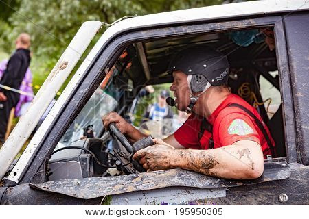 LUBOTIN UKRAINE - JULY 23 2016: RFC Ukraine Wild Boar Challenge 2016. Close up portrait of pilot.