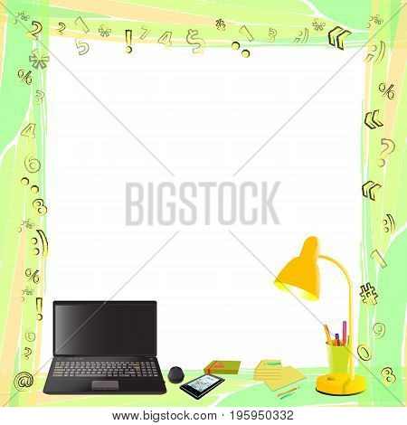 Photo Frame With Symbols. Computer