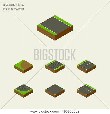 Isometric Road Set Of Cracks, Without Strip, Downward And Other Vector Objects