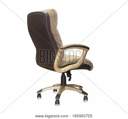 back view of modern office chair from brown cloth. Isolated