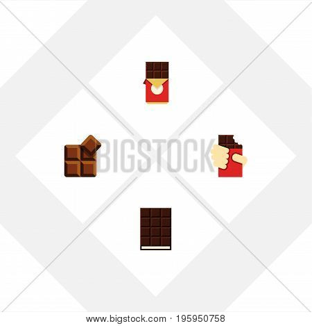 Flat Icon Bitter Set Of Chocolate Bar, Dessert, Cocoa And Other Vector Objects