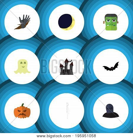 Flat Icon Celebrate Set Of Zombie, Pumpkin, Fortress And Other Vector Objects