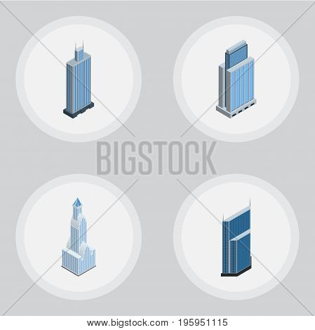Isometric Skyscraper Set Of Residential, Cityscape, Business Center And Other Vector Objects