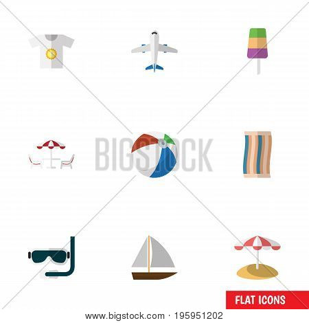 Flat Icon Summer Set Of Yacht, Parasol, Clothes And Other Vector Objects