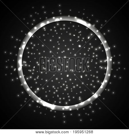 Light effect. Light circle with sparkles in space