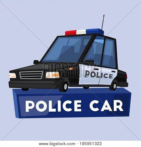 Police car. Cartoon vector illustration. Public safety transport