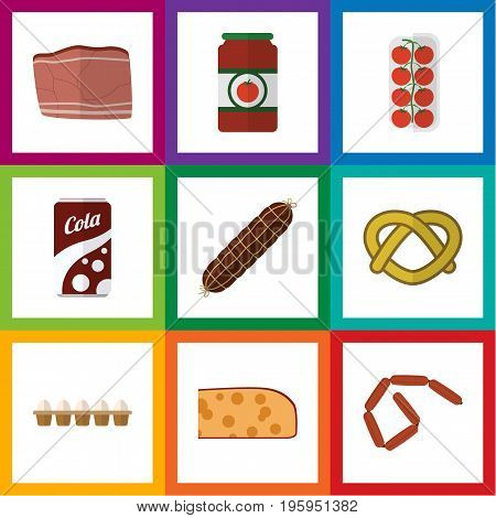 Flat Icon Meal Set Of Fizzy Drink, Smoked Sausage, Ketchup And Other Vector Objects