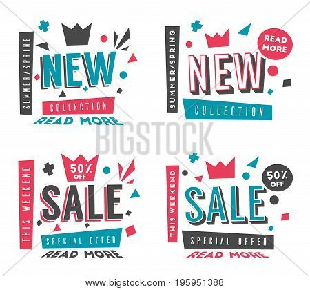 New collection and sale banner. Bright and retro style. Cartoon vector illustration. Poster and flyer design. Geometric elements