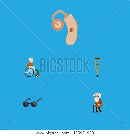 Flat Icon Handicapped Set Of Handicapped Man, Spectacles, Stand Vector Objects