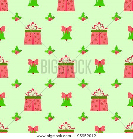 Box berry new year seamless pattern vector