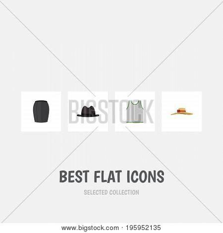Flat Icon Garment Set Of Elegant Headgear, Stylish Apparel, Panama And Other Vector Objects