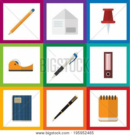 Flat Icon Equipment Set Of Drawing Tool, Pencil, Nib Pen And Other Vector Objects