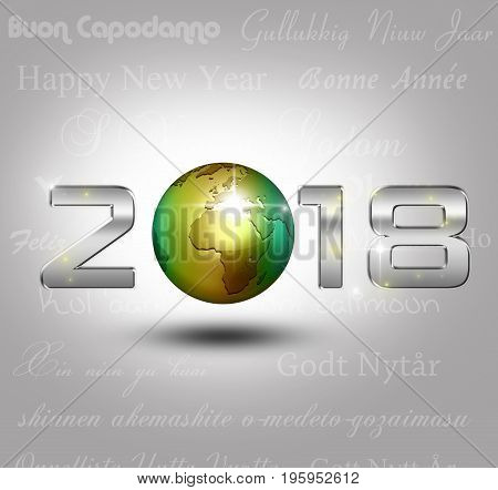 New Year 3D Illustration: A golden globe with shiny silver number 2018 on a light grey background with New Year greetings in different languages.