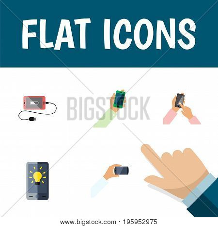 Flat Icon Phone Set Of Keep Phone, Accumulator, Smartphone And Other Vector Objects