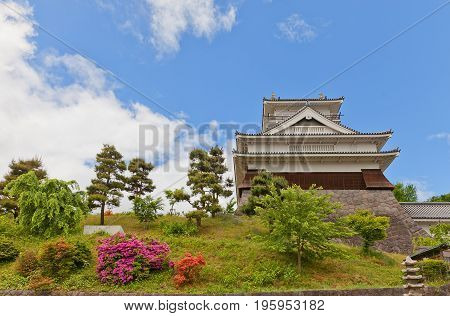 KAMINOYAMA JAPAN - MAY 28 2017: Main Keep (donjon) of Kaminoyama Castle Japan. Castle was founded in 1535 by Takenaga Yoshitada destroyed in 1692 and reconstructed in 1982