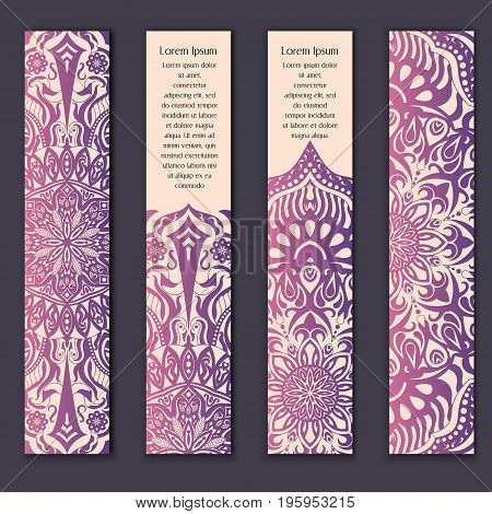 Card Set With Floral Lace Decorative Mandala Elements Background. Asian Indian Oriental Ornate Banne